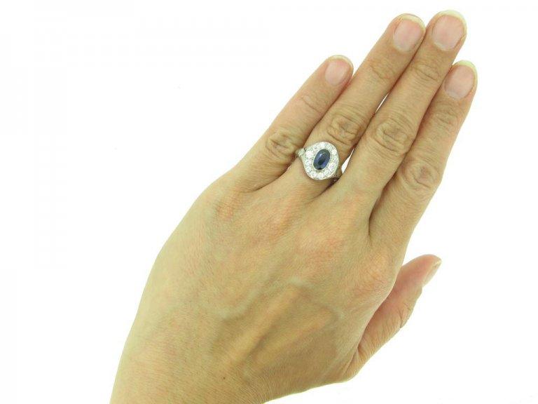 front antique diamond sapphire cluster ring berganza hatton garden