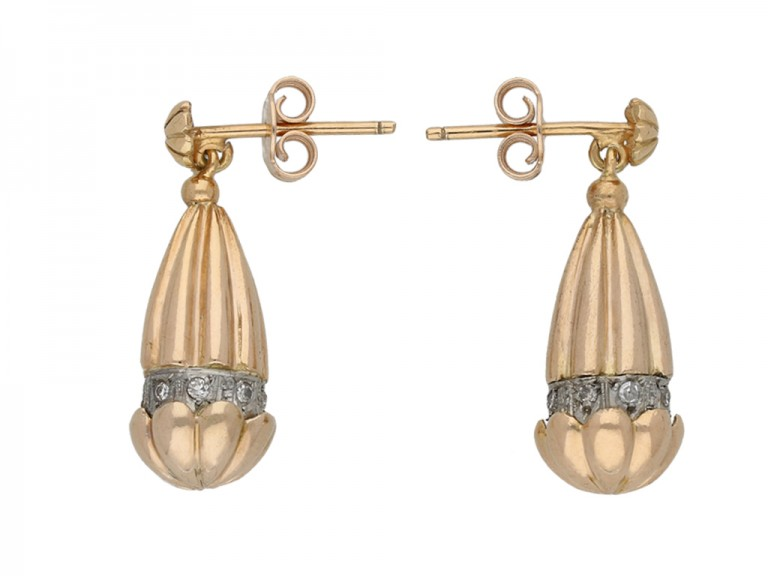 vintage Diamond gold acorn earrings berganza hatton garden