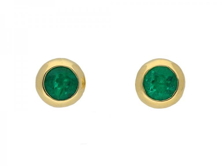 vimtage emerald gold stud earrings hatton garden berganza