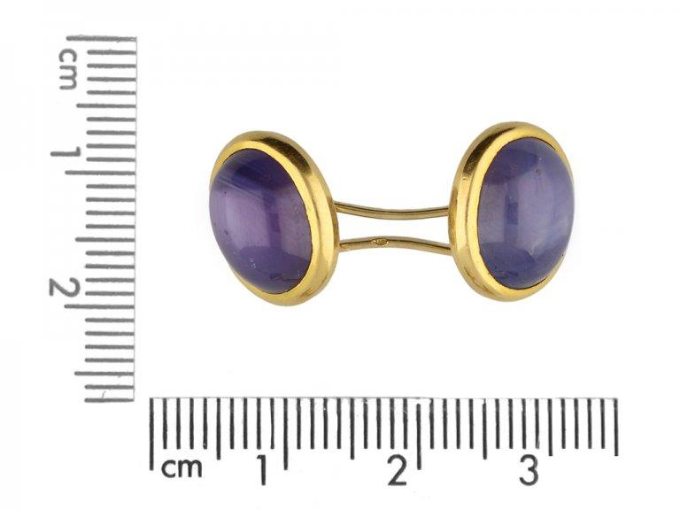 Antique star sapphire cufflinks berganza hatton garden
