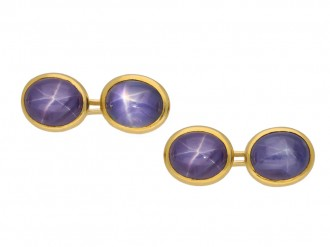 Antique star sapphire cufflinks berganza hatton garden