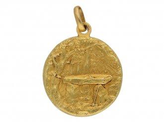 Art Nouveau medal pendant berganza hatton garden