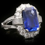 Vintage Ceylon sapphire and diamond cluster ring, circa 1950.