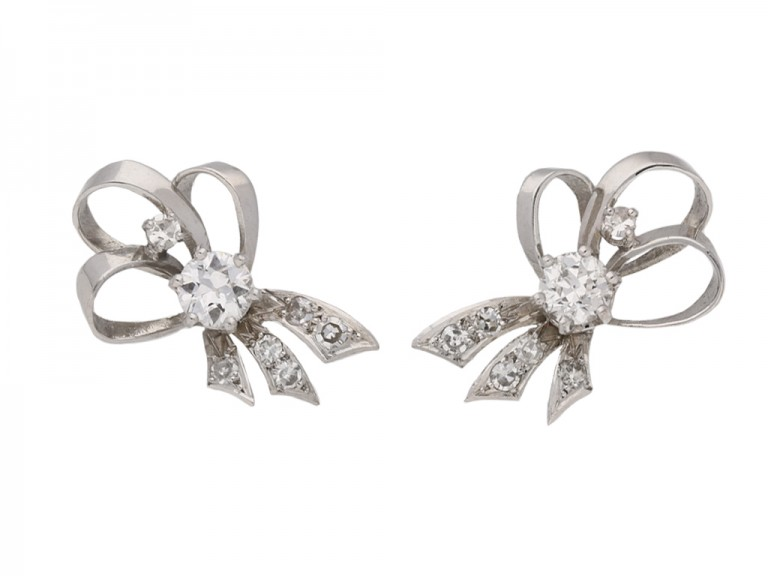 vintage diamond bow earrings hatton garden berganza
