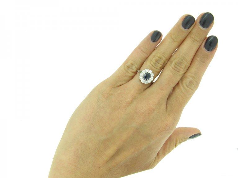 antique sapphire diamond cluster ring hatton garden berganza