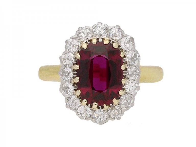 antique diamond ruby cluster ring berganza hatton garden