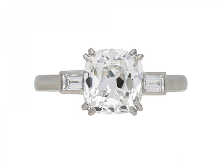 Art Deco cushion shape diamond ring berganza hatton garden