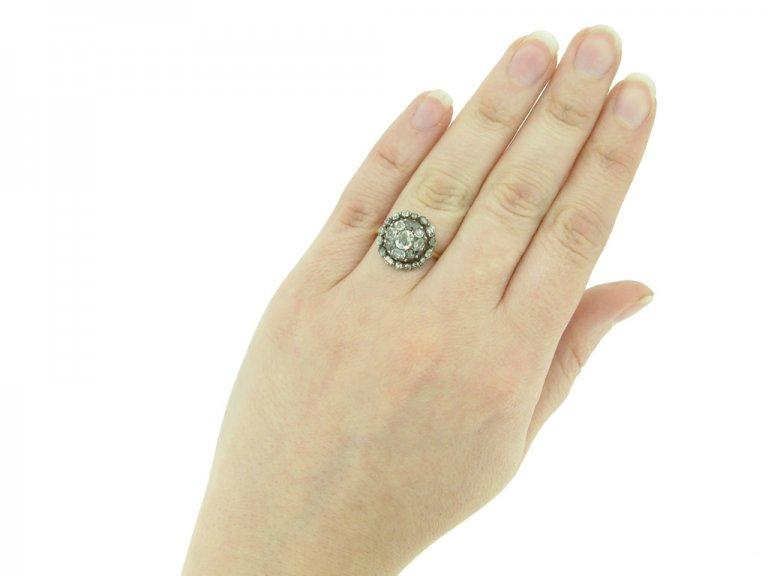 front georgian diamond cluster ring hatton garden berganza