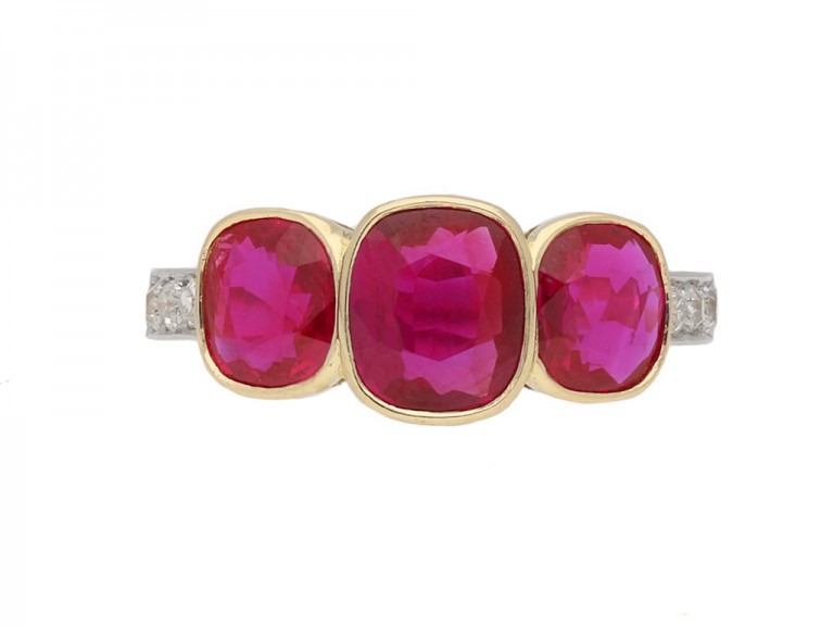 Burmese three stone ruby ring hatton garden berganza