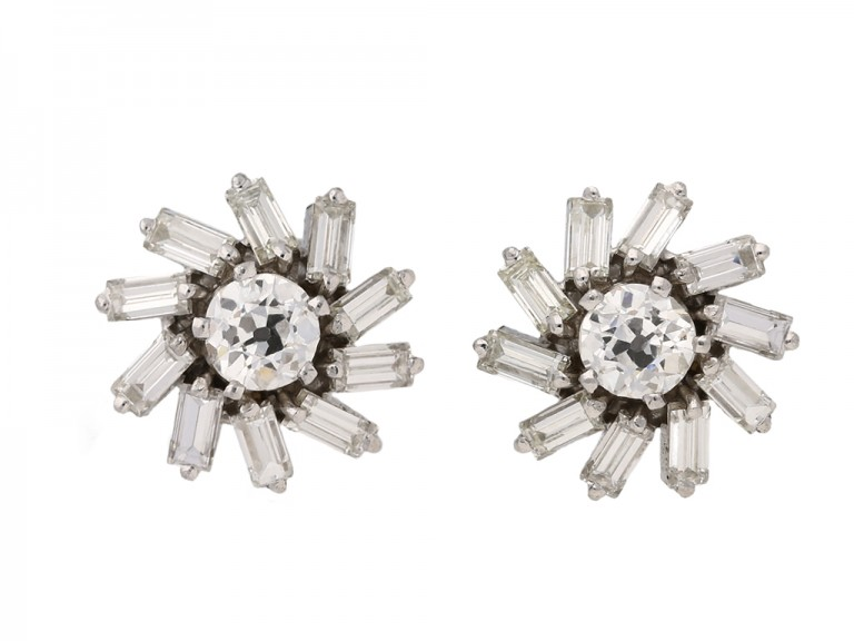 front vintage diamond cluster earrings berganza hatton garden