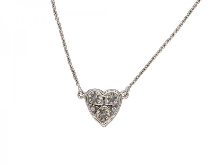 vintage diamond heart pendant berganza hatton garden