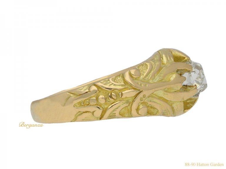 Art Nouveau diamond ring berganza hatton garden