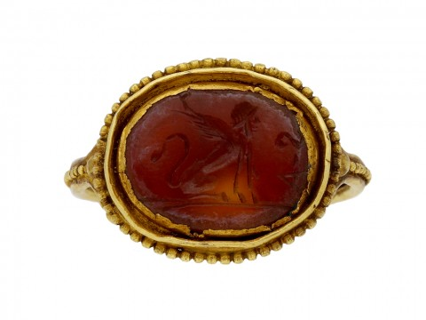 Ancient Roman Sphinx intaglio ring berganza hatton garden