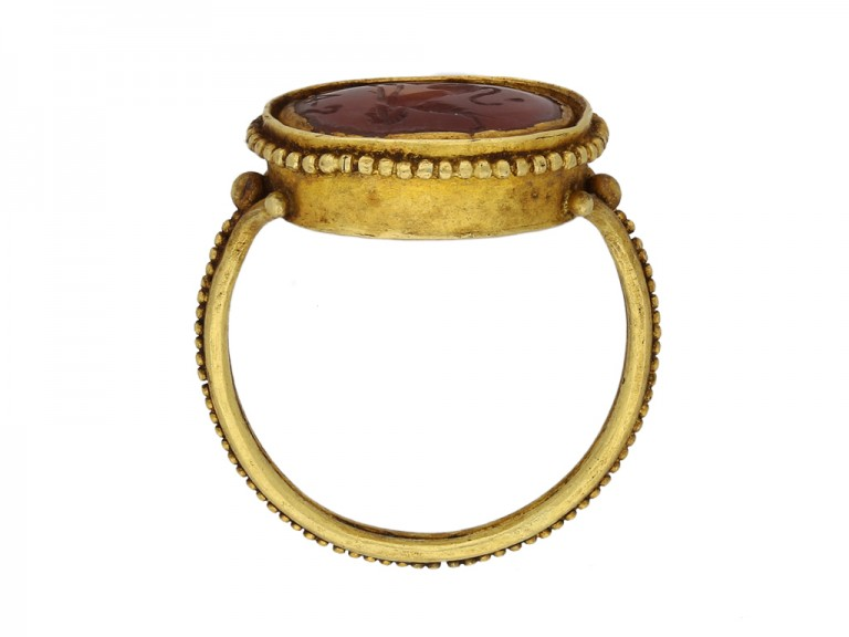 Ancient Roman Sphinx intaglio ring berganza hatton garden