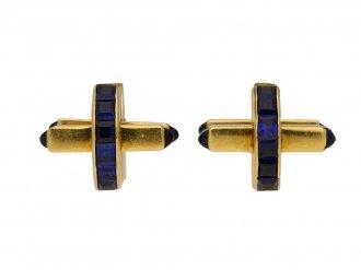 Vintage sapphire cufflinks berganza hatton garden