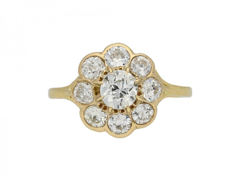 Antique diamond coronet cluster ring berganza hatton garden