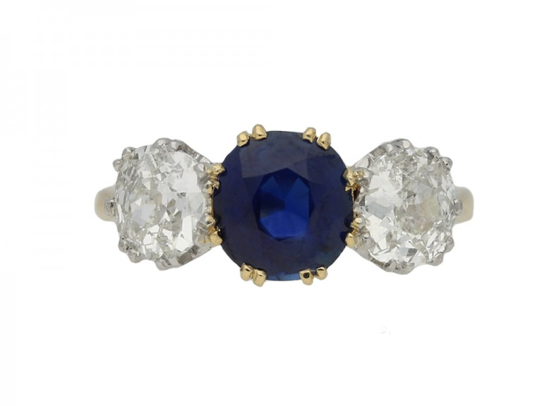 Sapphire and diamond three stone ring berganza hatton garden