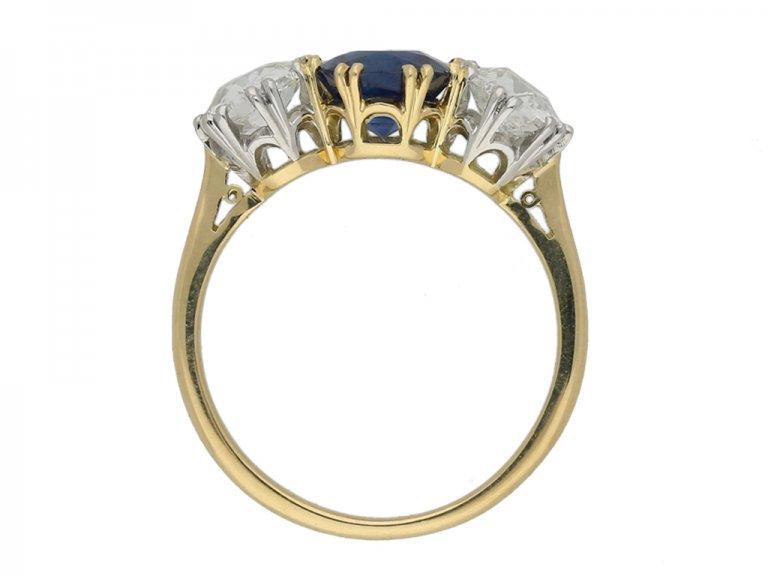 Sapphire and diamond three stone ring berganza hatton garden