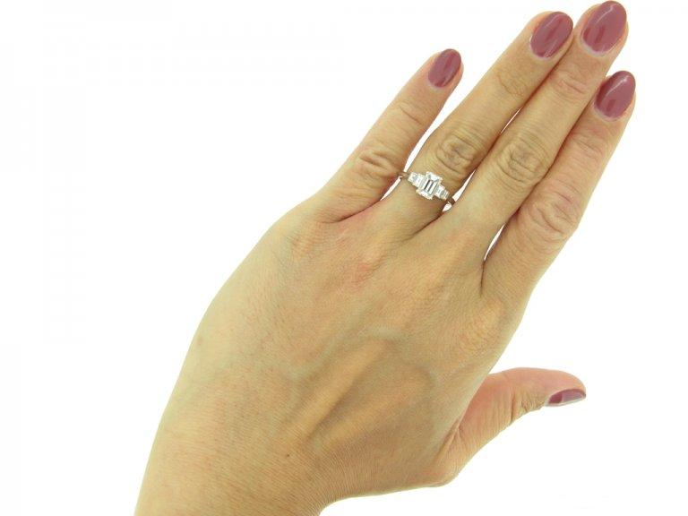 Art Deco emerald cut diamond ring berganza hatton garden