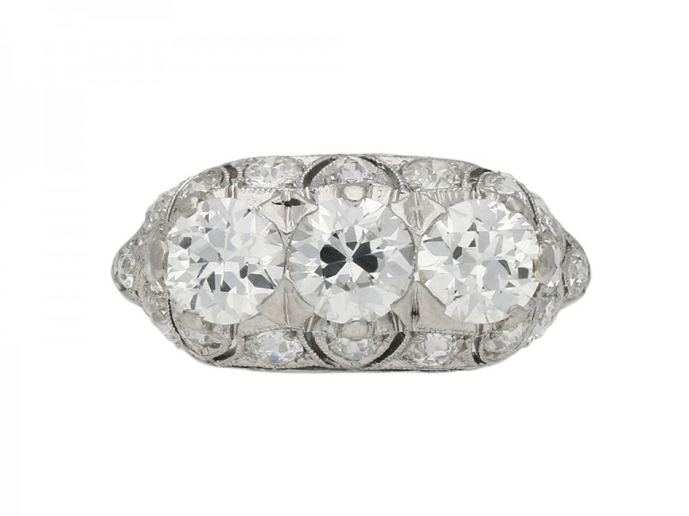 vintage Three stone diamond cluster ring berganza hatton garden