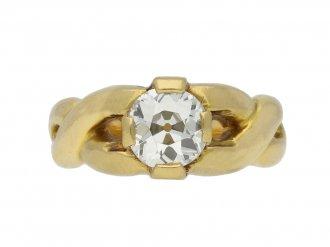 vintage Old mine diamond solitaire ring berganza hatton garden