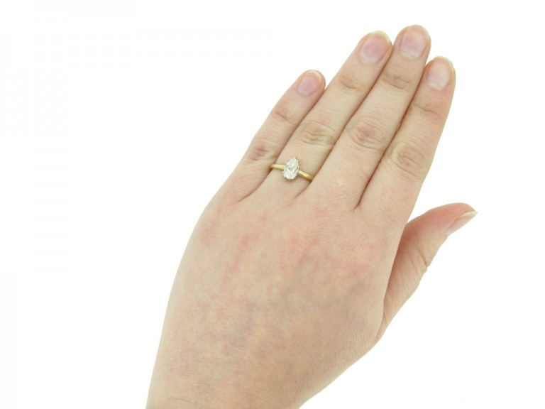Edwardian drop shape diamond ring berganza hatton garden