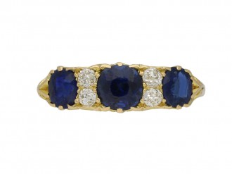 Antique sapphire and diamond carved ring berganza hatton garden