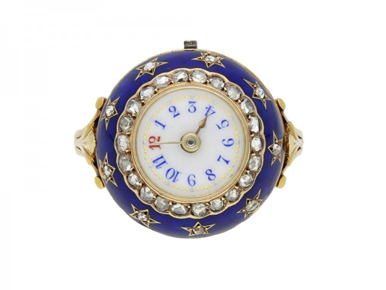 edwardian enamel diamond watch ring berganza hatton garden