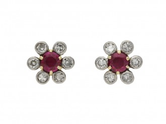 Edwardian ruby diamond cluster earrings berganza hatton garden