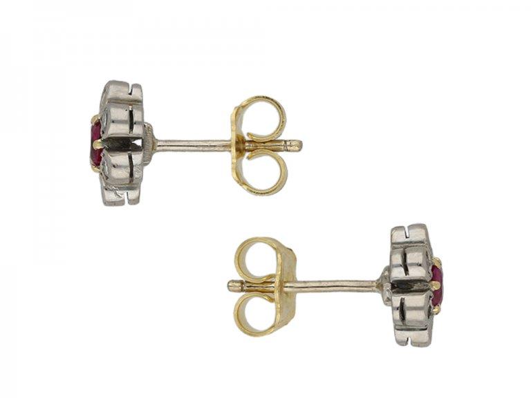 Edwardian ruby diamond cluster earrings berganza hatton garden