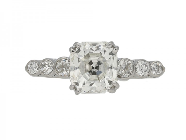 Art Deco Asscher cut diamond solitaire ring berganza hatton garden