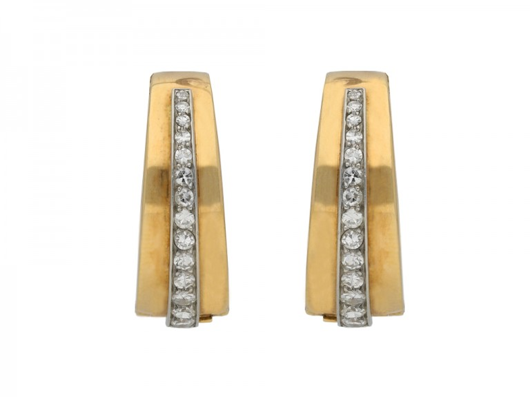Diamond clip hoop earrings, French berganza hatton garden