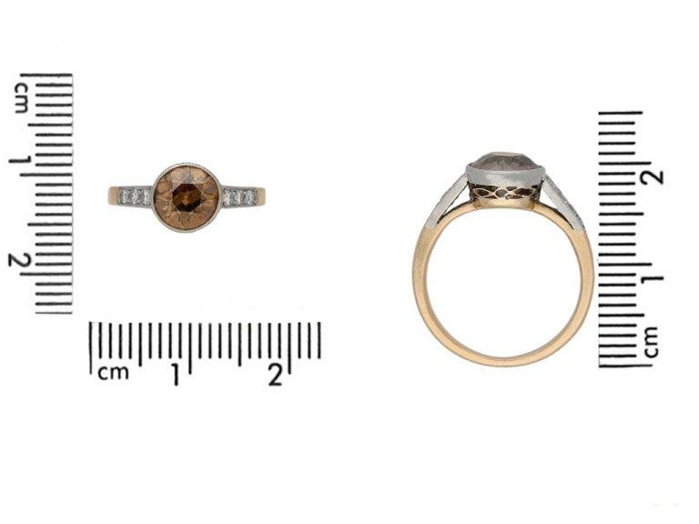 Antique cognac diamond solitaire ring berganza hatton garden