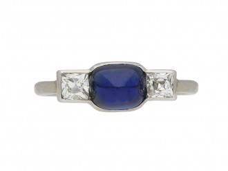 Art Deco sapphire diamond three stone ring berganza hatton garden