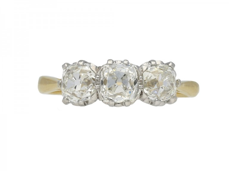 Edwardian three stone diamond ring berganza hatton garden