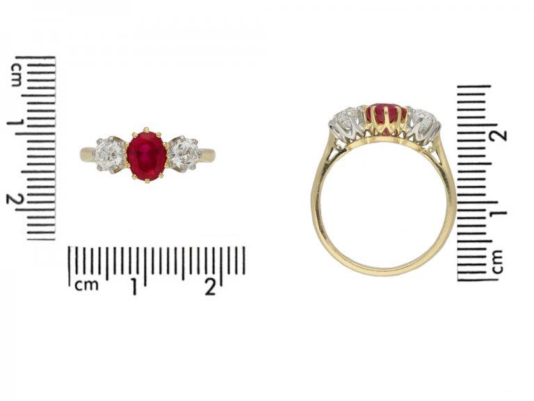 Burmese ruby and diamond three stone ring berganza hatton garden