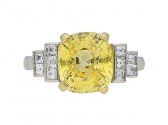 Vintage yellow Ceylon sapphire ring berganza hatton garden