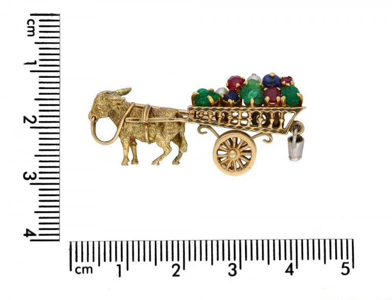 Cartier multi gem donkey brooch berganza hatton garden