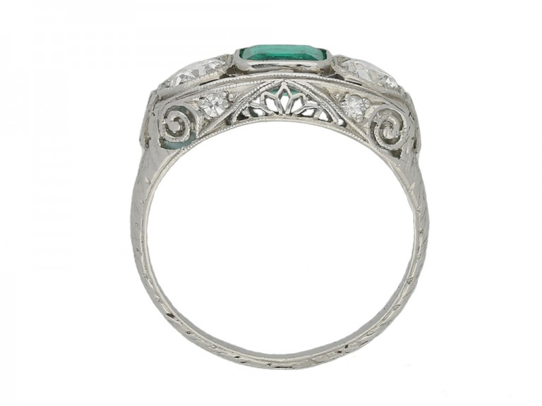 Emerald and diamond three stone ring berganza hatton garden