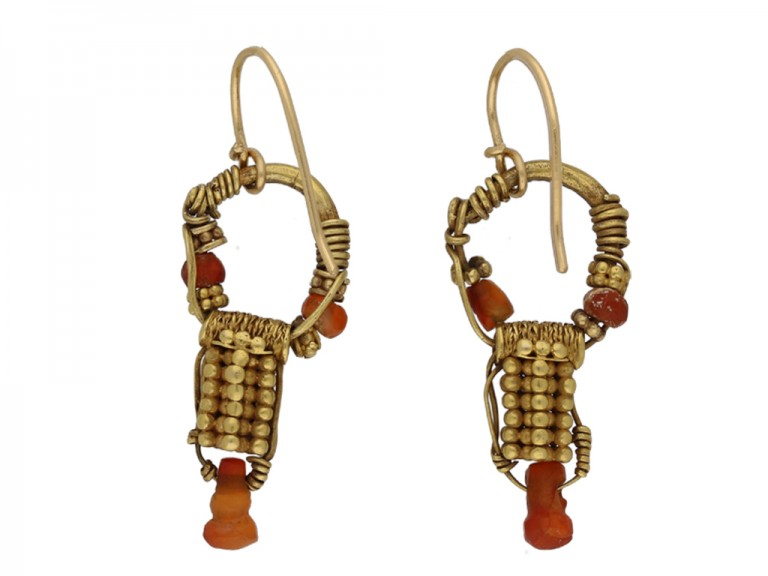 Ancient Parthian carnelian earrings berganza hatton garden
