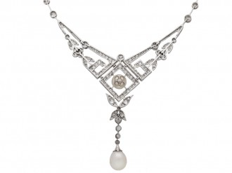 Edwardian pearl and diamond necklace,berganza hatton garden