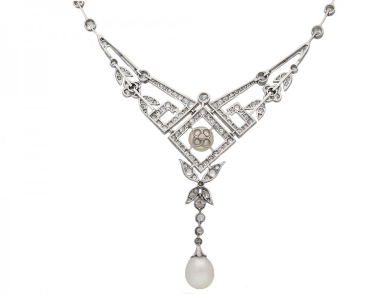 Edwardian pearl and diamond necklace,berganza hatton garden