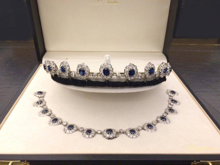 Burmese sapphire diamond necklace/tiara berganza hatton garden