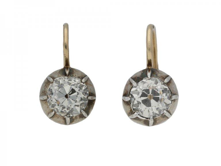 Antique diamond solitaire drop earrings berganza hatton garden