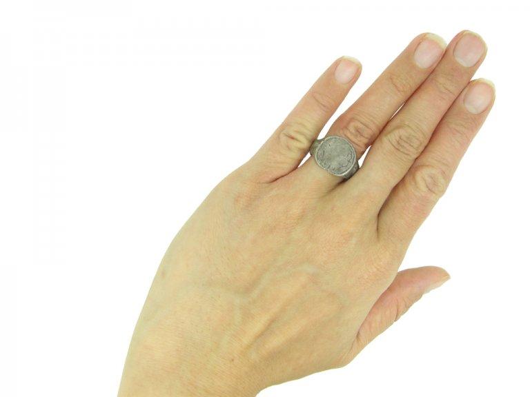 Silver post medieval signet ring berganza hatton garden