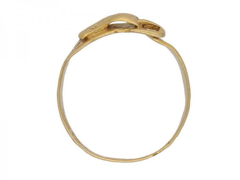 Yellow gold buckle ring, Finnish berganza hatton garden
