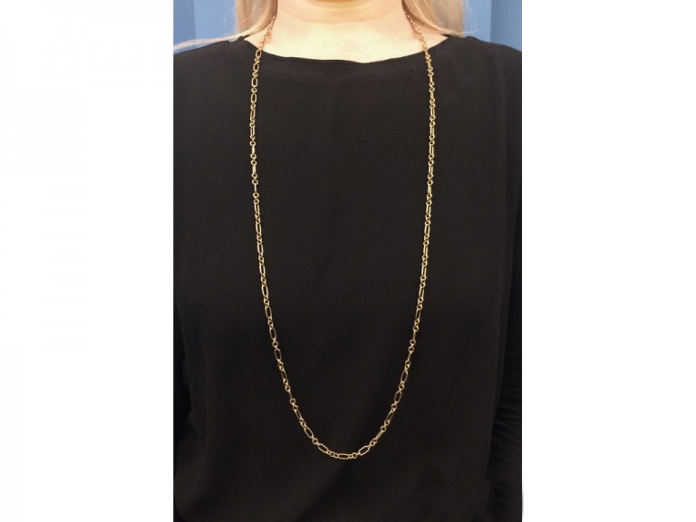 Victorian yellow gold long chain