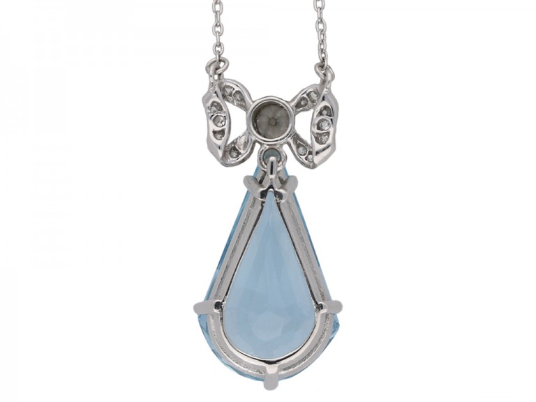 Art Deco aquamarine diamond drop pendant berganza hatton garden