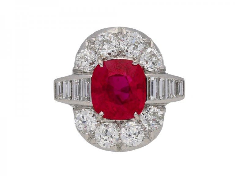 Pigeon blood Burmese ruby and diamond ring berganza hatton garden