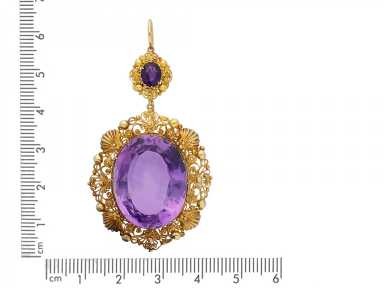 Amethyst and gold cannetille earrings berganza hatton garden